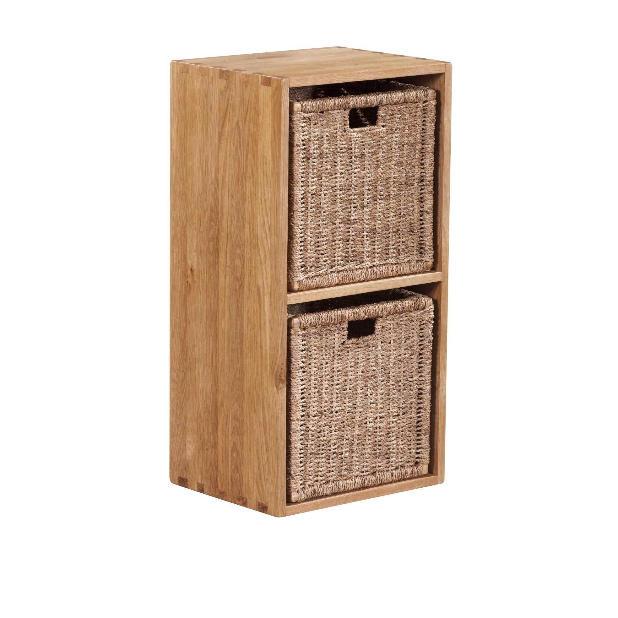 Vancouver Solid Oak Cube With Two 2 Jute Baskets M2 Brown