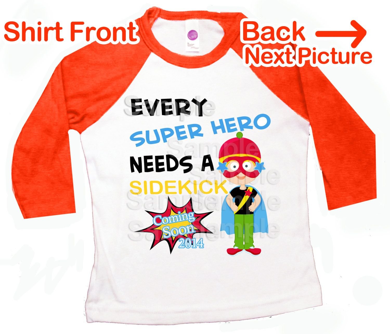 Every Superhero Needs A Sidekick Personalised Big Brother T-Shirt Pregnancy Tee
