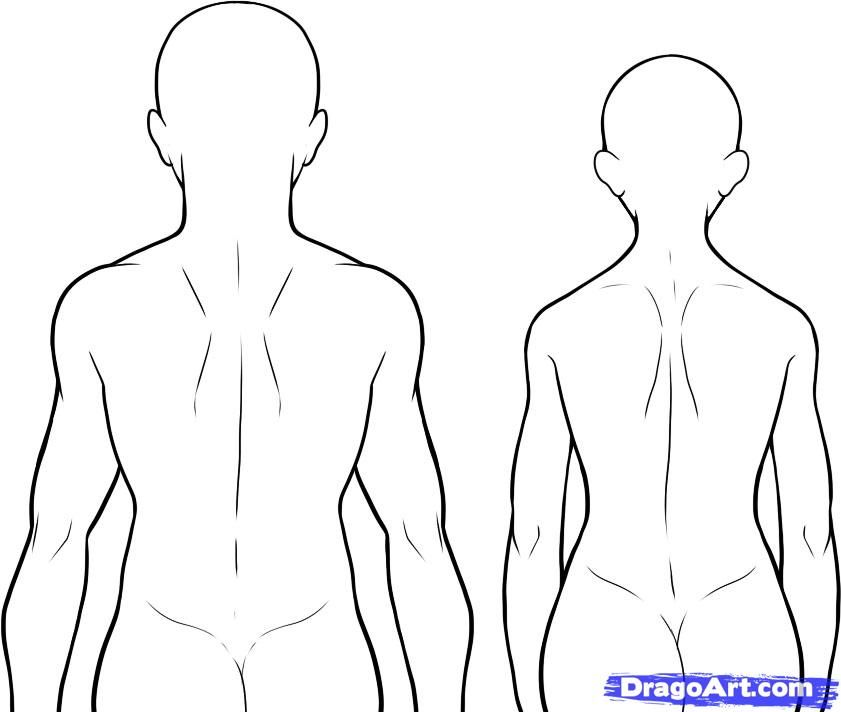 How To Draw A Back Step 9 Back Drawing Body Outline Person Drawing