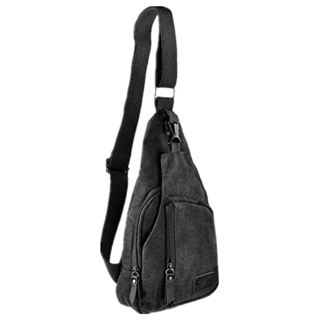 ac095c0de7 Amazon.com   Kalevel Cool Outdoor Sports Casual Canvas Unbalance Backpack  Crossbody Sling Bag Shoulder Bag Chest Bag for Men - Size L (Black)   Sports    ...