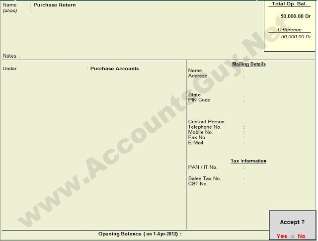 How to create Purchase Return Ledger Account in TallyERP 9? We - debit note issued by supplier