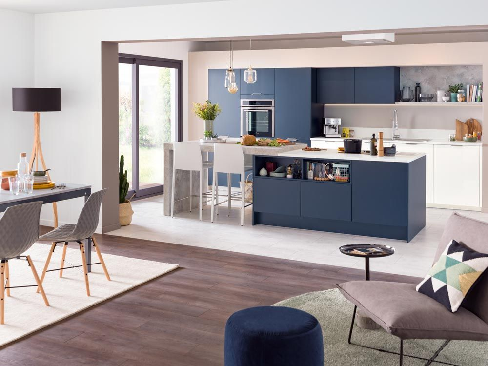Cuisine quip e life cuisine bleue cuisine ouverte - Plan de maison avec cuisine ouverte ...