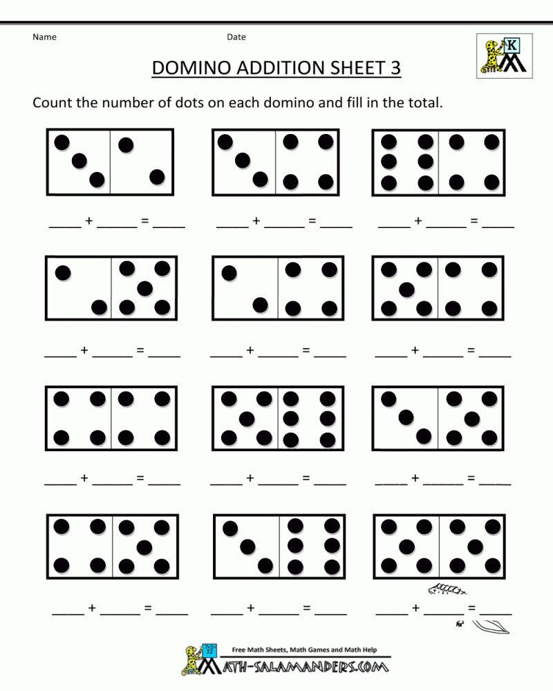Domino Addition Worksheet Kindergarten In 2020 Kindergarten Math Worksheets Free Preschool Math Worksheets Kindergarten Math Free