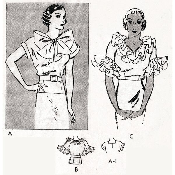 1930s 30s Vintage Blouse Sewing Pattern evening or day art deco ...