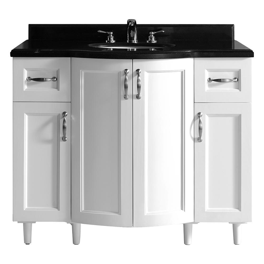 Gigi 42 In Vanity In White With Granite Vanity Top In Black