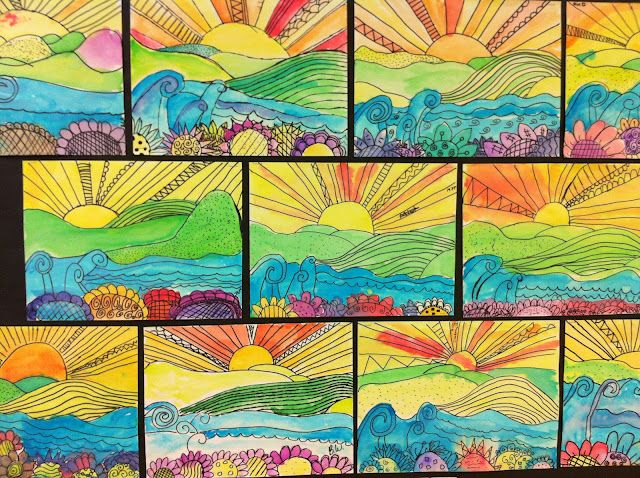 Watercolor Sunsets 5th Grade Apex Elementary Art Landscape Art