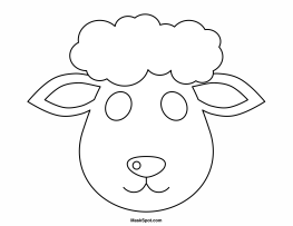 free sheep head coloring pages | Printable Lamb Mask to Color | Sheep mask, Sheep template ...