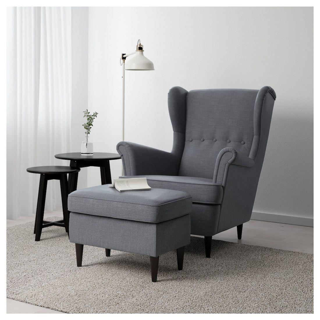 Strandmon Nordvalla Dark Grey Footstool Ikea In 2020 Comfy Chairs Yellow Living Room Yellow Chair