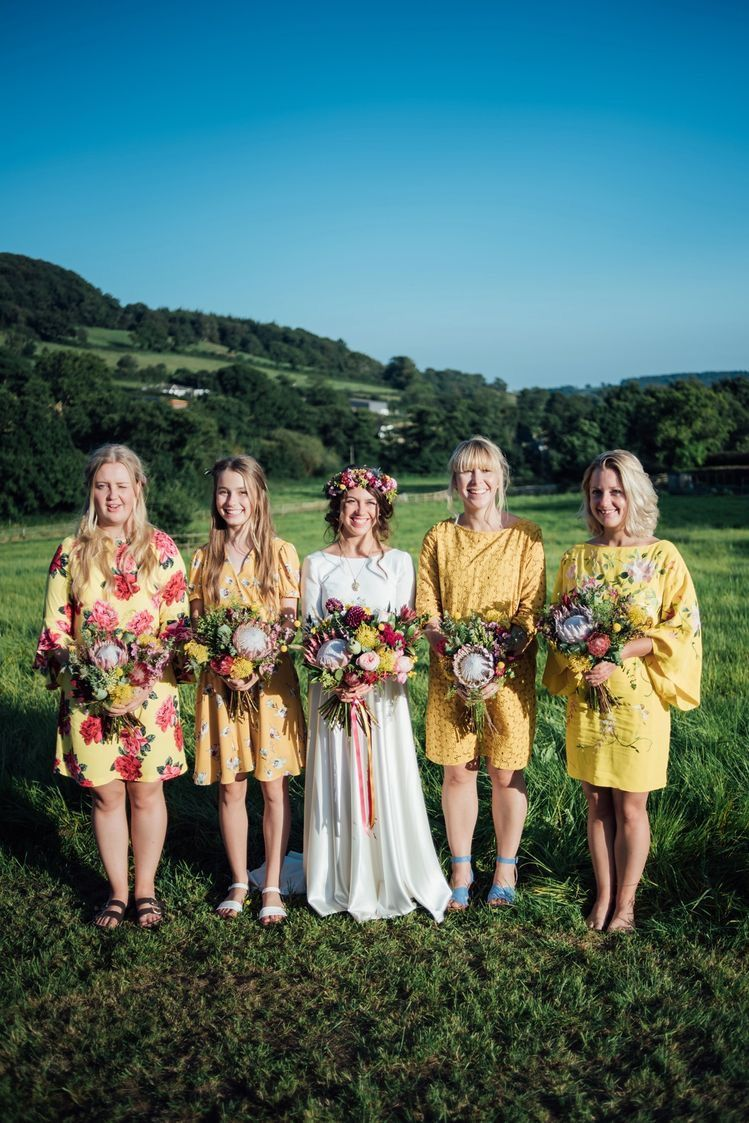 2e6450e71a4 Bridal party boho wedding inspiration mismatched bridesmaids