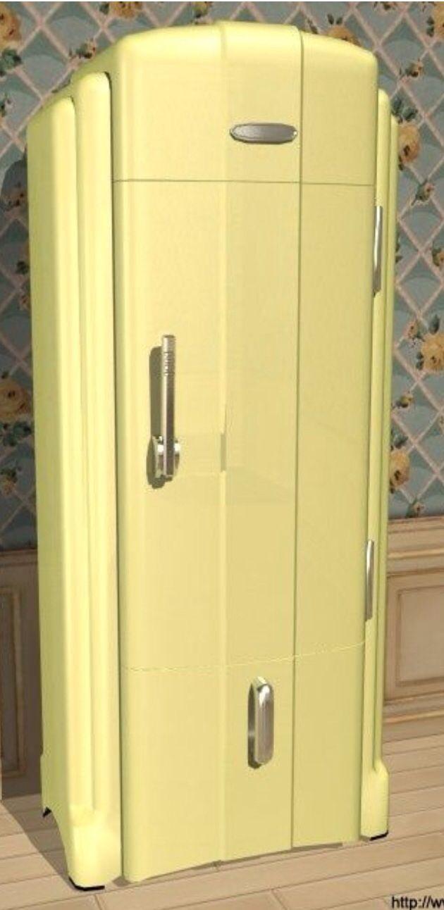 Art deco enamelware refrigerator very cough cool mid century