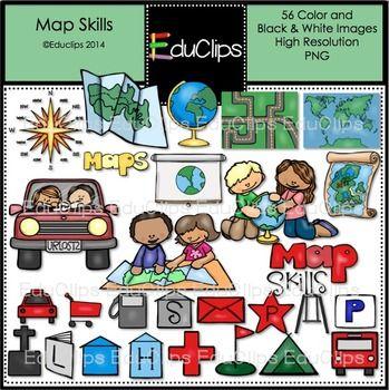 Map Skills Clip Art Bundle Educlips Clipart Art Bundle Map Skills Clip Art