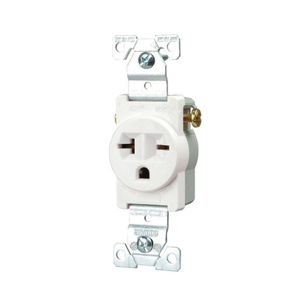Eaton Commercial Grade 20 Amp Straight Blade Single Receptacle with ...