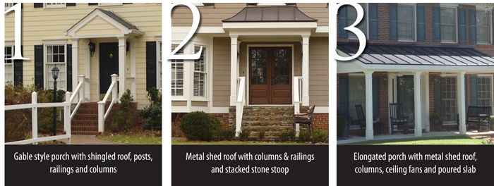 Gable Style Porch Metal Shed Roof Porch Porch With Columns