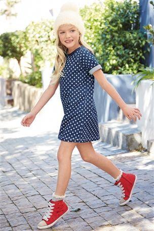 Spot Denim Dress (3-16yrs)