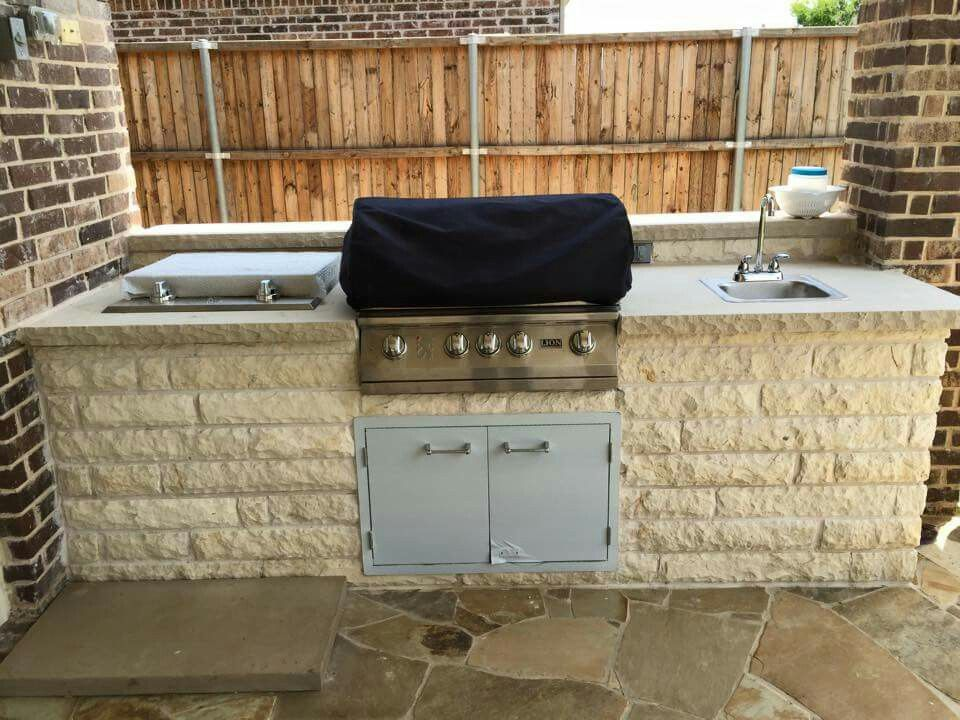 Outdoor Kitchen With Grill Storage And Outdoor Sink Outdoor Sinks Outdoor Kitchen Covered Patio