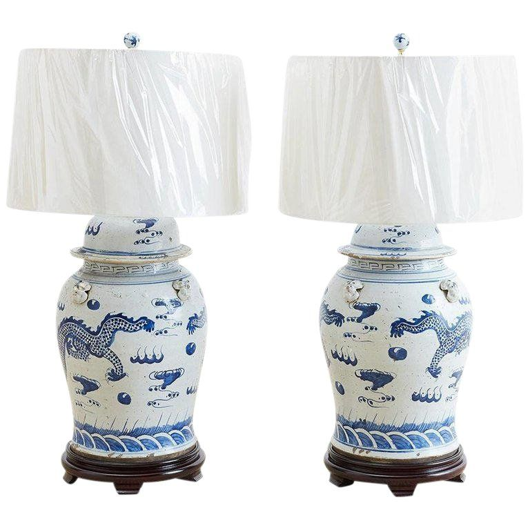 Monumental Chinese Blue And White Ginger Jar Lamps In 2019