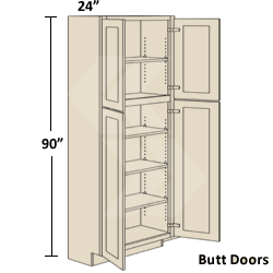Freeport Maple White Chocolate Glaze Pantry Utility Cabinet Butt Door)    Ready To Assemble Kitchen Cabinet   RTA   30 X 90 X 24