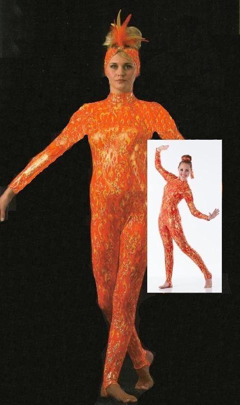 2e50082177 FLAME Acro Foil Stirrup Unitard Jumpsuit Ice Skating Dance Costume Child    Adult  Cicci