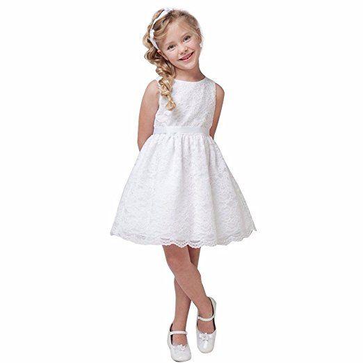 FEESHOW Mädchen schönes ärmelloses Kleid mit Spitze Dekor am ...