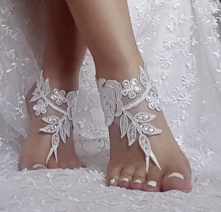 19 color Beach wedding barefoot sandals Ivory Barefoot Sandals Sexy Anklet Bellydance Steampunk Beach Pool beach wedding BEACH WEDDING #pooloutfitideas