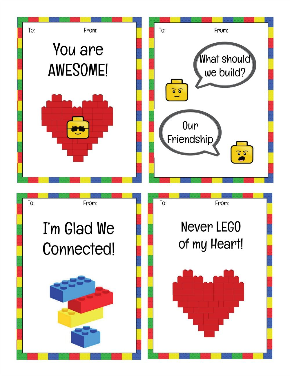 Free Printable Lego Valentine S Day Cards Lego Cards And Free