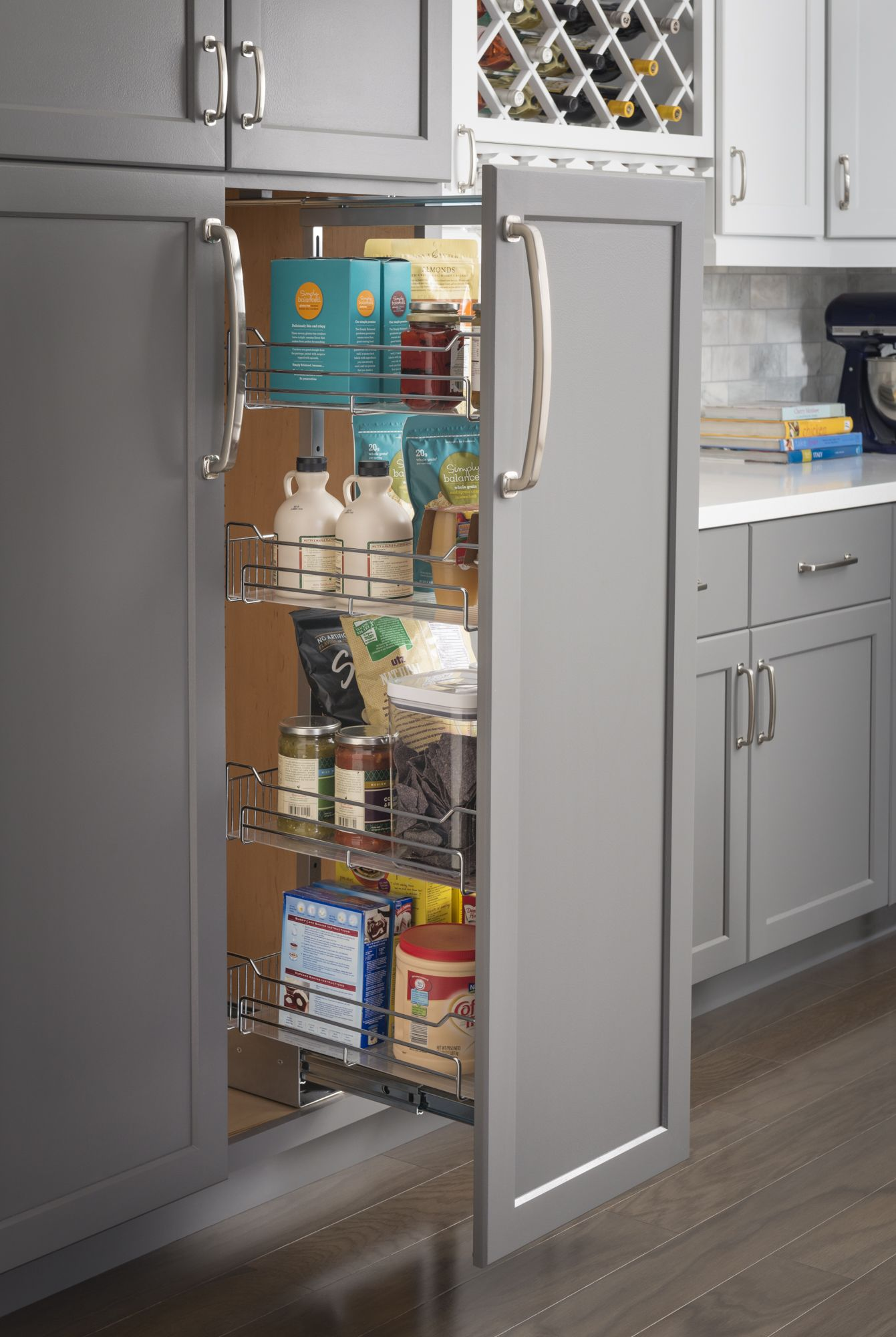 Chrome Wire Pantry Pullout With Heavy-duty Soft-close
