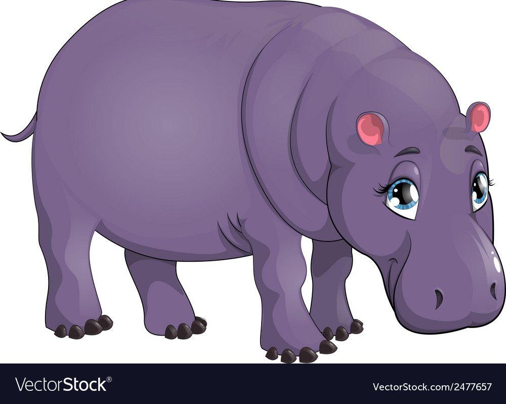 Behemoth Vector Image On Vectorstock Cute Hippo Drawing For Kids Artwork