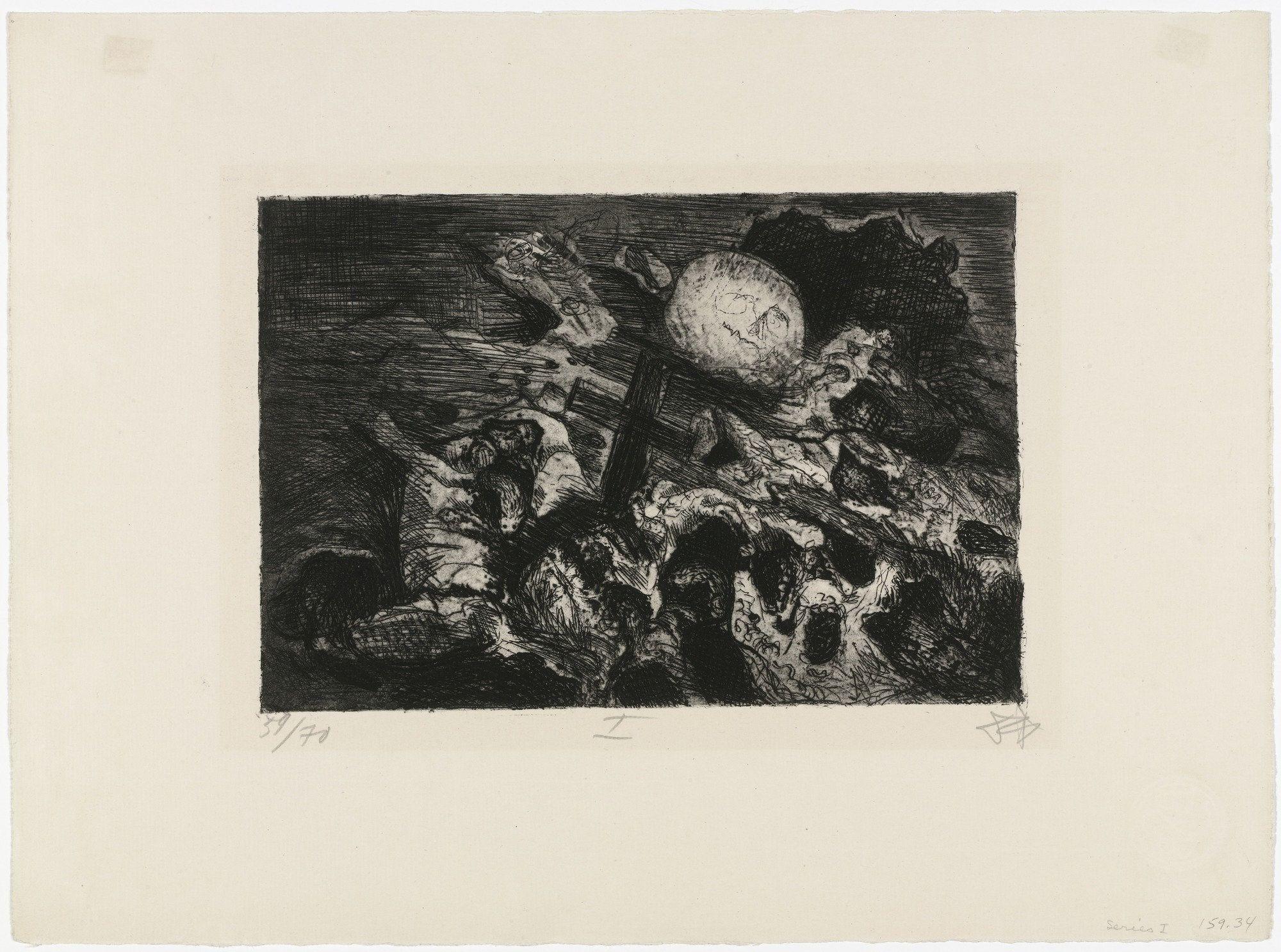 Otto Dix (1924, impressa entre 1923-24) Der Krieg. Água-forte, água-tinta e ponta-seca. 22 x 23 cm (estampa), 39,8 x 42,1 cm (papel). Impressa por Otto Felsing e publicada por Karl Nierendorf, ambos de Berlim, tiragem: 70 cópias. MoMA, The Museum of Modern Art.