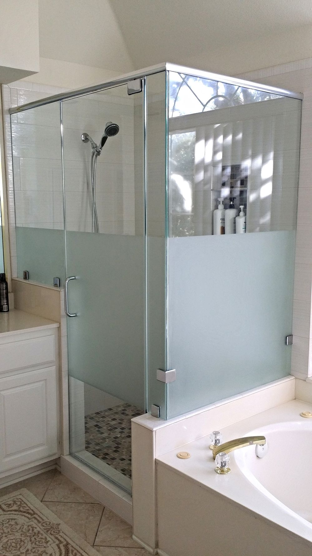Quick Look Custom Etched And Frosted Glass Doors Bathroom