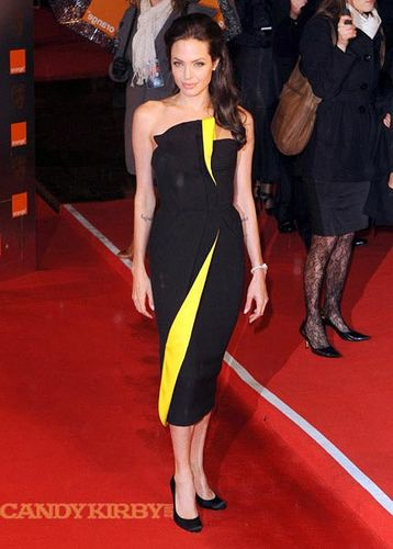 Angelina Jolie in a Black-and-Yellow Dress at The Orange British ...