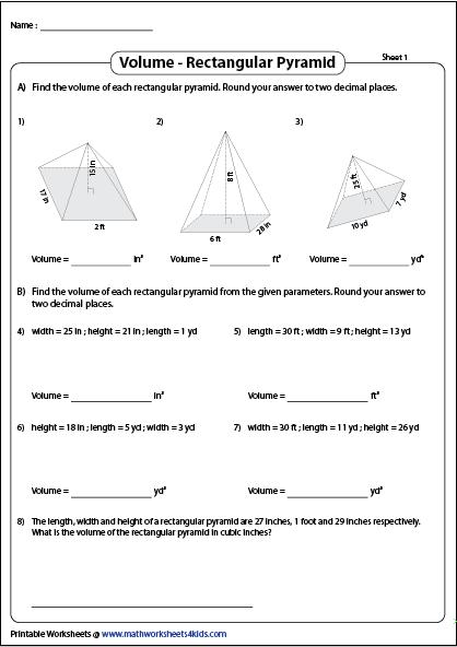 Volume Of Rectangular Pyramids Printable Worksheets Pyramids Printable Worksheets Rectangular