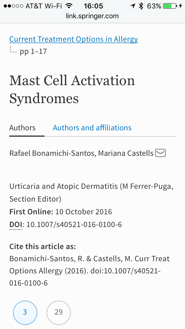Use the link to get to a new article about Mast Cell disorders! Link:.  http://link.springer.com/article/10.1007/s40521-016-0100-6