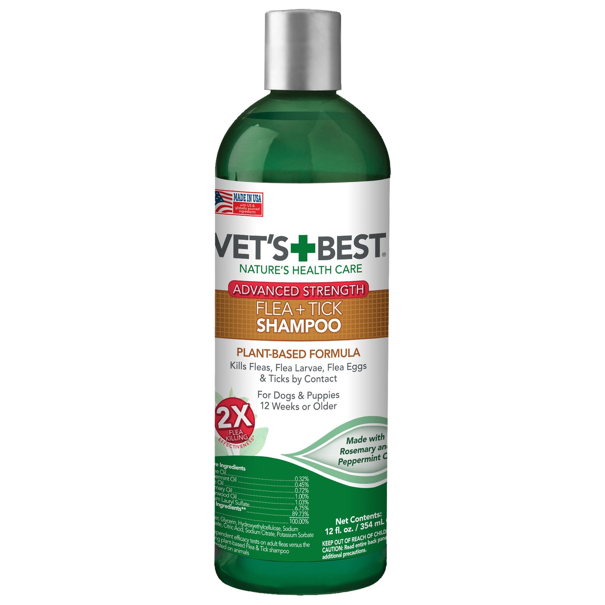 Vet's Best Advanced Strength Flea + Tick Dog Shampoo, 12