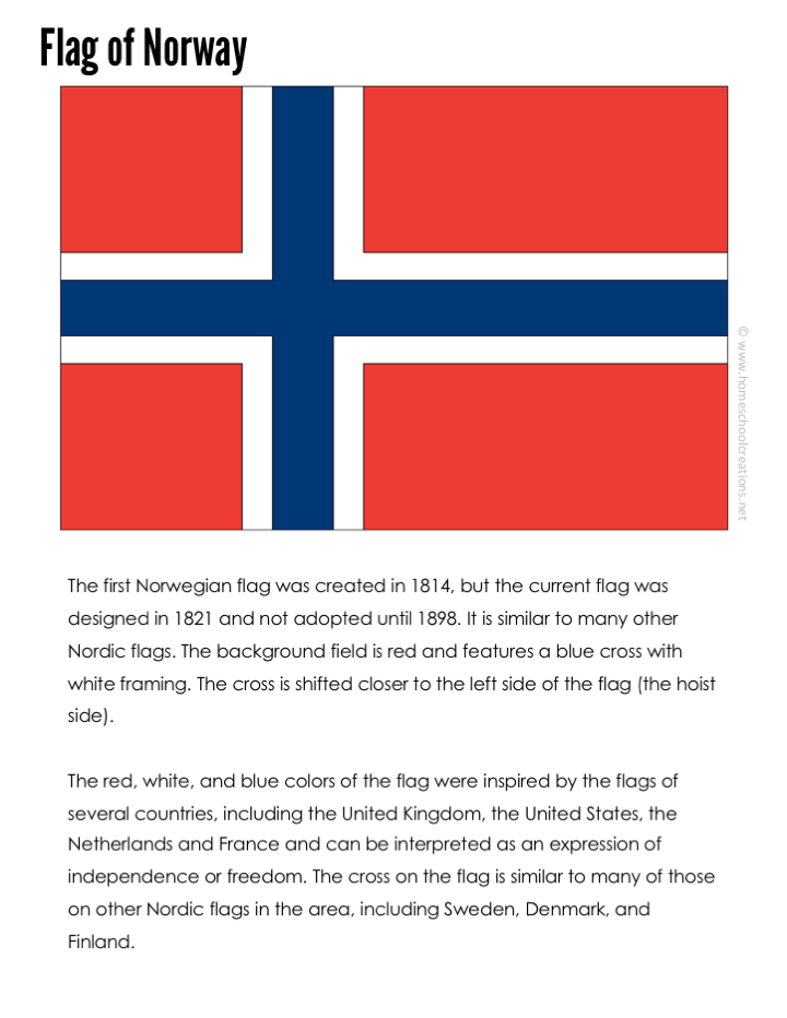 Norway Geography Printables Free Educational Printable In 2020 Flag Coloring Pages Norway Flag Geography Printables