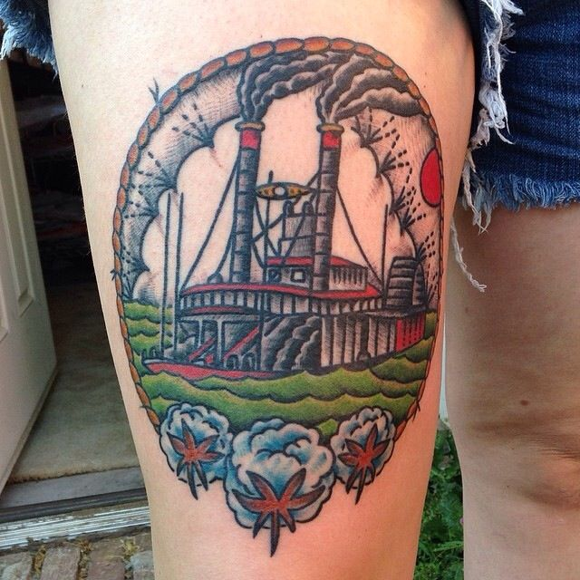 mississippi river boat tattoo traditional style tattoo by david wilson ironclad saltillo ms. Black Bedroom Furniture Sets. Home Design Ideas