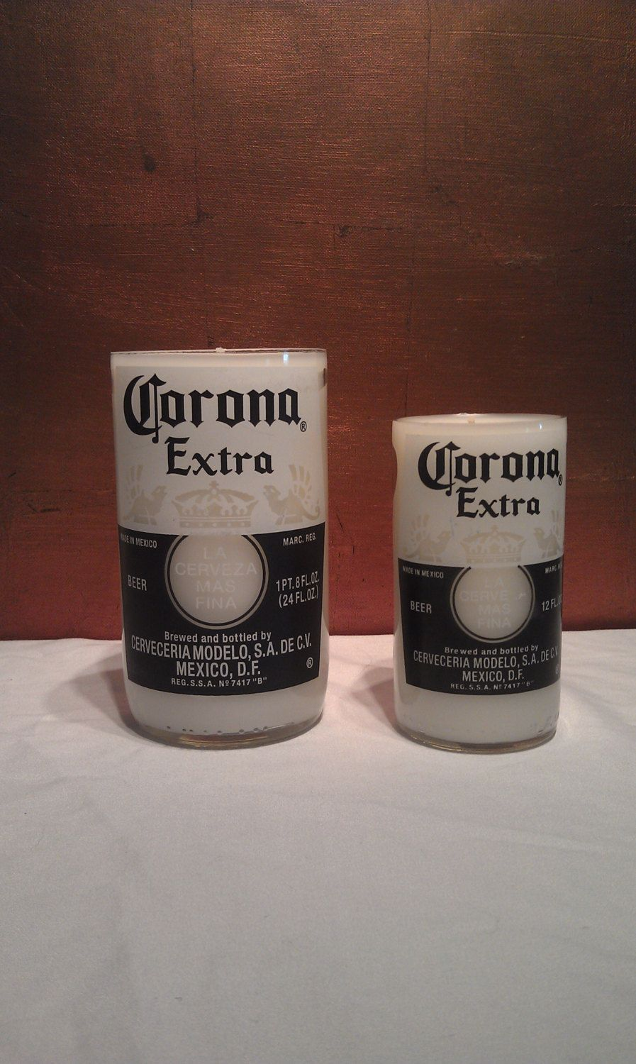 Set of 2 Corona Scented Beer Bottle Candles W/ No base(18oz and 8-9oz)