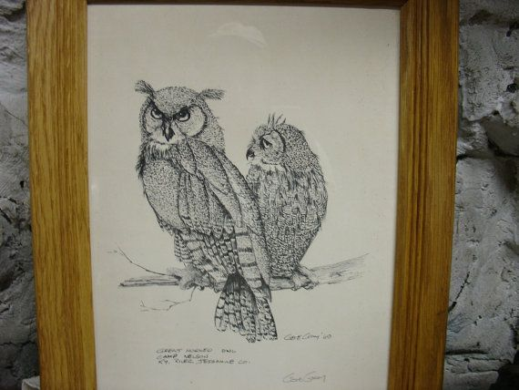 Artist Gene Gray, well-known as one of the premier wildlife artists in the world, portrays and calls attention to enduring things. Rustic lodge decor, Farmhouse rustic, Animal Lover, Gift For Him. ~ Pair of Great Horned Owls, field sketches. ~ Pencil sketch of Great Horned Owls, detail is incredible. ~ Lithograph from the late 1960's