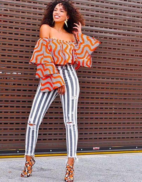 227aa17b9057a African Print Top - 3 layered Bell Sleeves Top - Off Shoulder Crop Top -  Ankara - African Dress- Ha