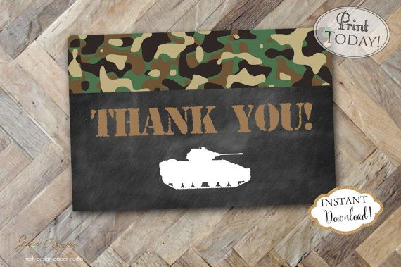 Instant Download Army Thank You Card Army Tank Camo Thank Etsy In 2021 Military Cards Military Birthday Card Inspirational Cards