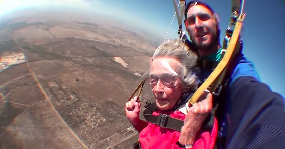 A 100-year-old woman celebrates her birthday by skydiving.