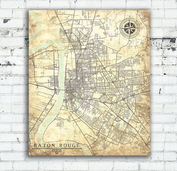 BATON ROUGE LA Canvas Print Louisiana City Vintage map Baton Rouge ...