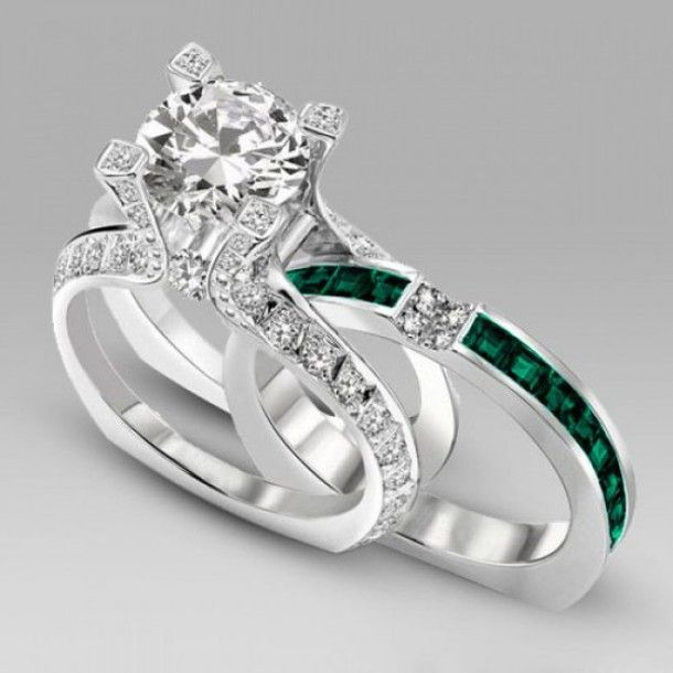 Emerald Cut Diamond Wedding Ring Sets Jewels Two In One Engagement Evolees