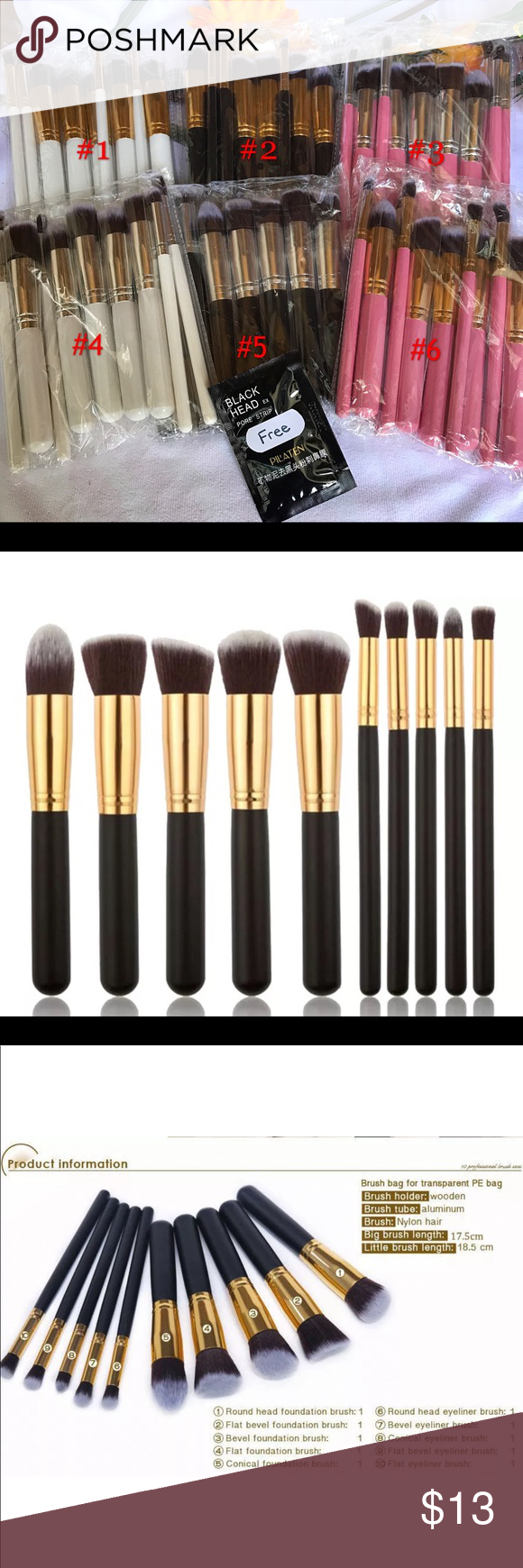 10pcs Pro Makeup Brushes Set 1.Precision face brush 2.Flat