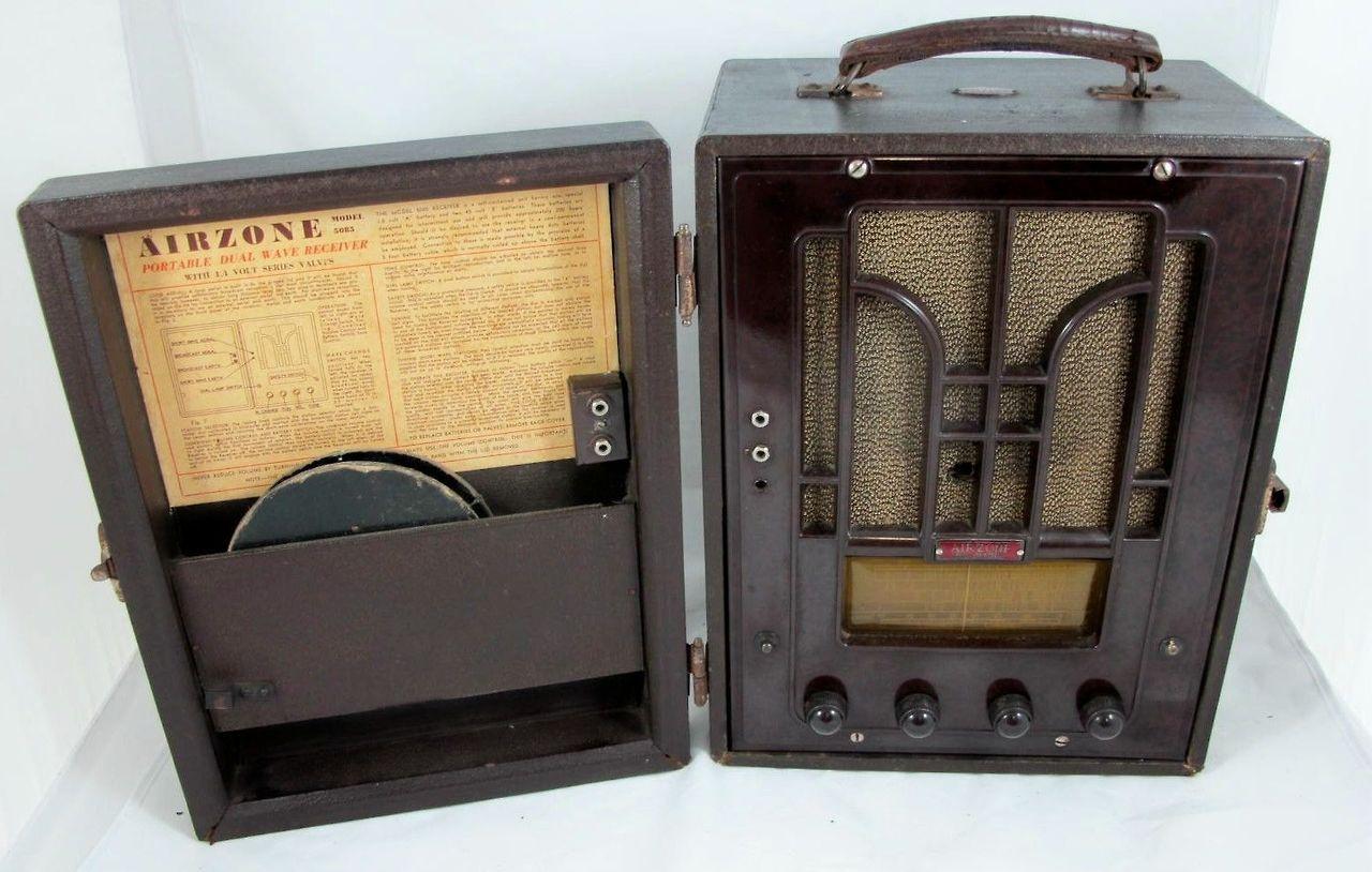 Airzone 5085 Australia 1940 Portable Mw Sw Radio Receiver Tubes 1a7g 1n5g 1n5g 1h5g 1c5g Or 1q5g Power Supply Dry Batteries Radio Old Radios Antique Radio