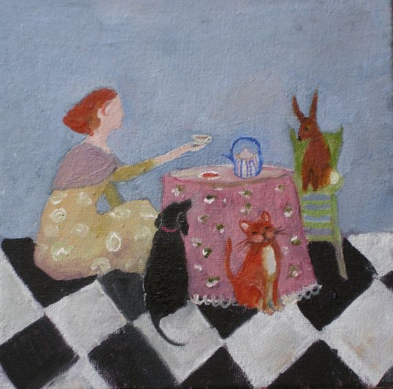 TEA PARTY original oil painting 6x6 inch with dog by EverywomanArt, $60.00