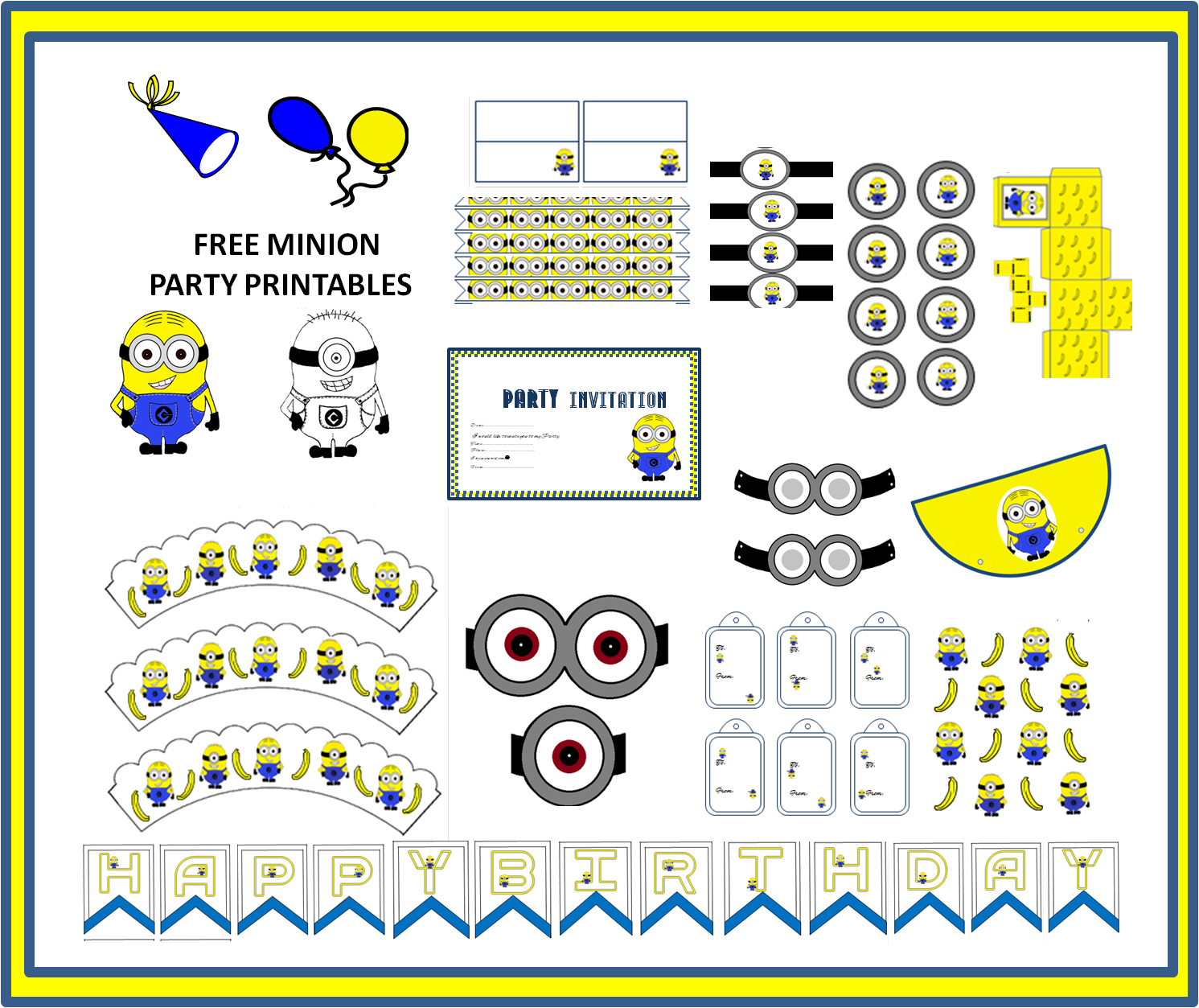 The Art Bug Free Minion Themed Party Printables Rachels 13th