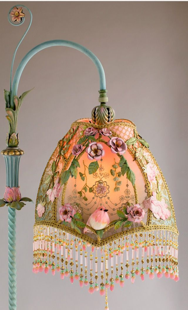 Pink Birds Flowers Beads Pole Lamp Antique Lamps
