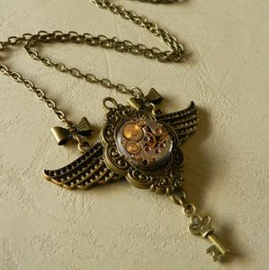 Image of Lovely Winged Steampunk Clockwork Bow Necklace