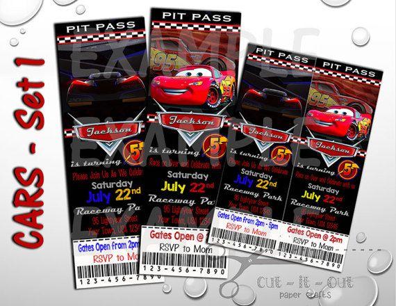 Cars 3 Birthday Invite Disney Invitation Custom Party Invites Pit Pass