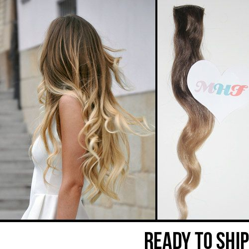 Brown to ash blonde ombre hair extensions single piece 18 brown to ash blonde ombre hair extensions single piece 18 inches pmusecretfo Images